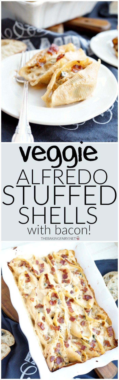 vegetariano Alfredo conchas rellenas con tocino |  El hada de la hornada