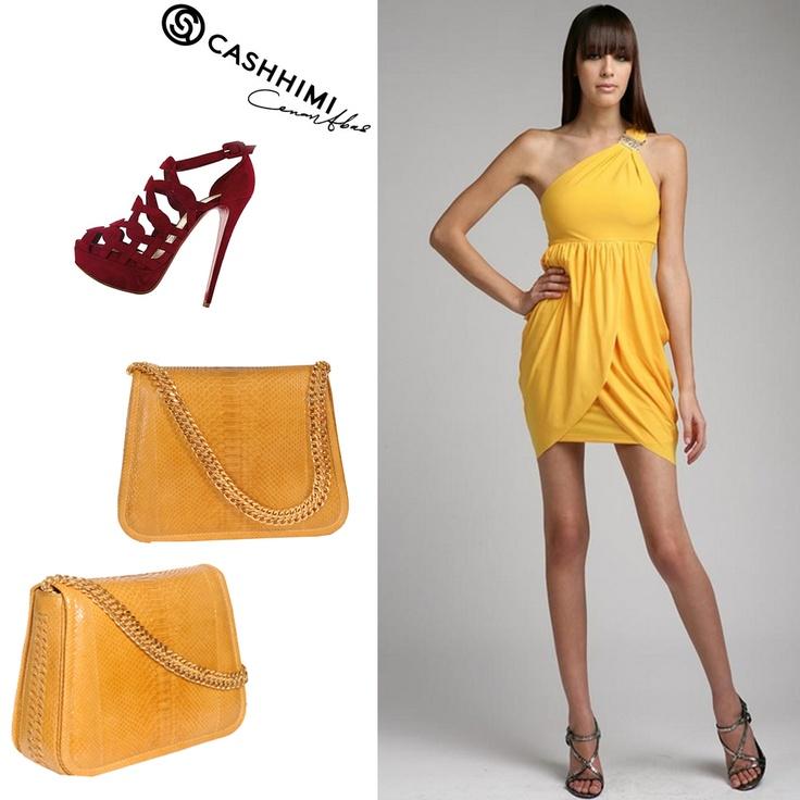 Cashhimi Yellow KING Python Clutch