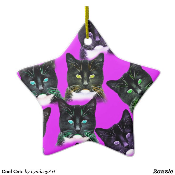 Cool Cats Christmas Decoration...available in lots of great shapes. Customize the background color to go with your Xmas palette, add some text for that personal message! LyndseyARt