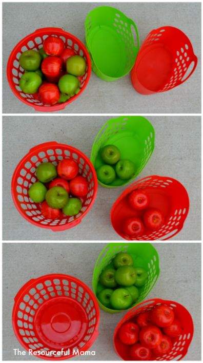 Apple sorting-great activity for toddlers with items bought from the Dollar…
