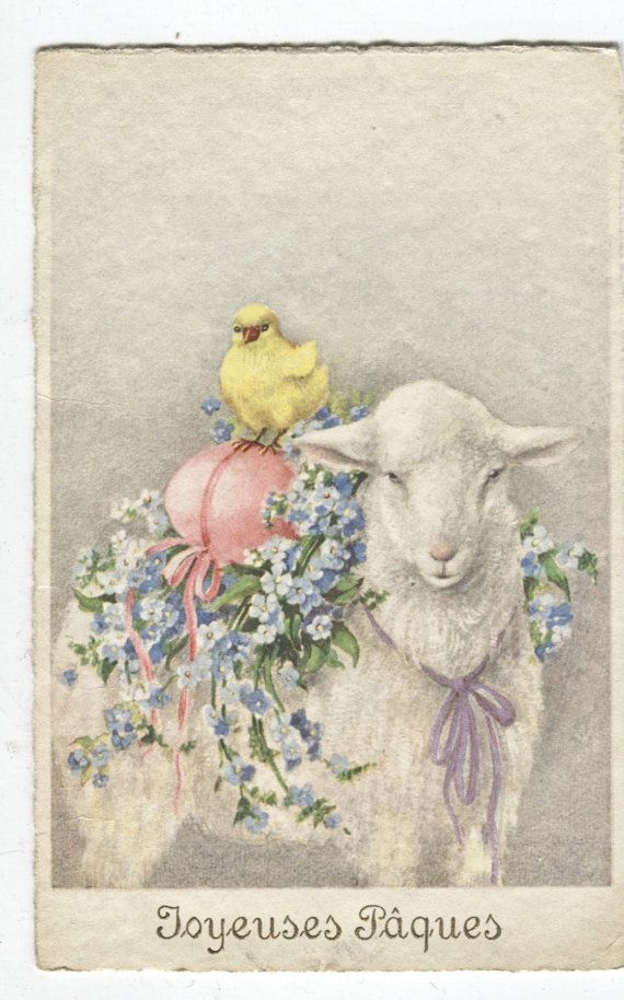 1932 Vtg Happy Easter Postcard French with Stamps by Carrollonline