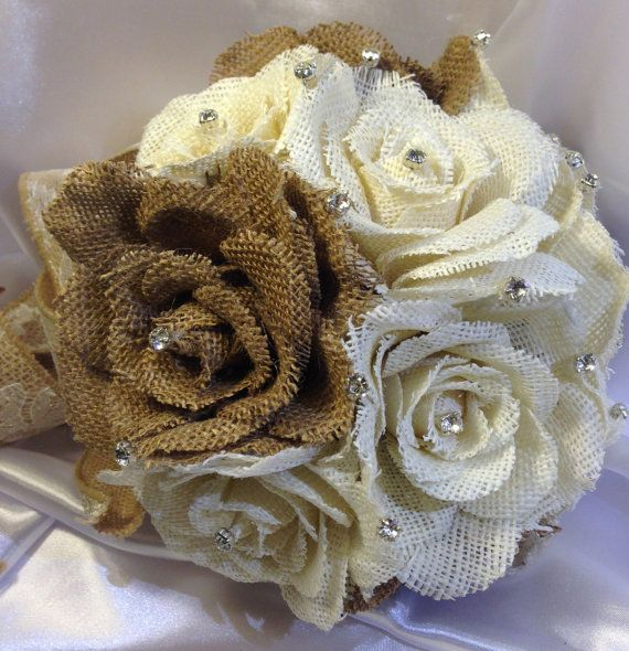 Burlap+bouquet+/+Country+wedding+/+Rustic+Chic+by+ElianasTreasures,+$52.00