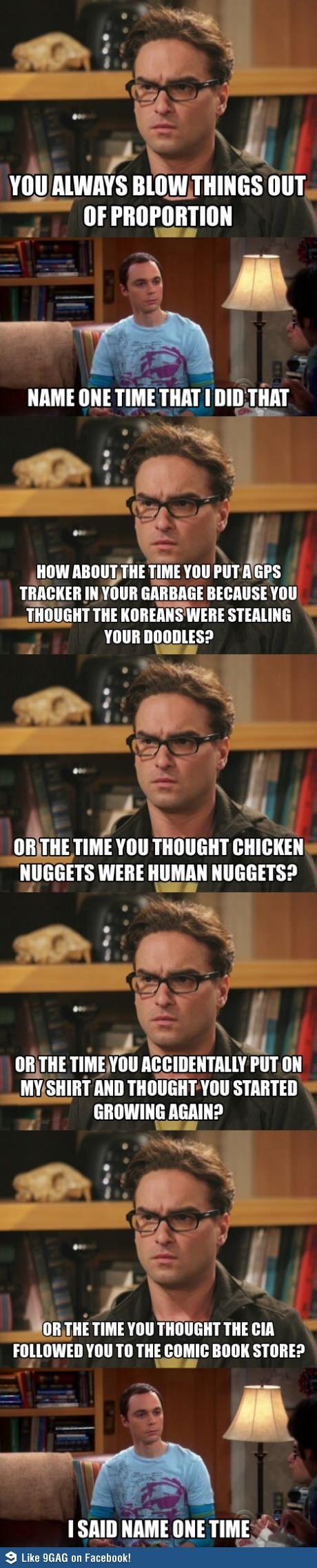 Just Sheldon Overreacting...