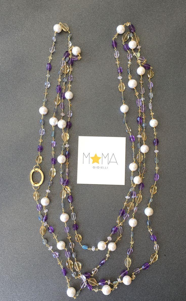 Collana perle australiane ametista quarzo citrino e labradorite.... Lunga 2 metri e 80 cm!!! info@momagioielli.com