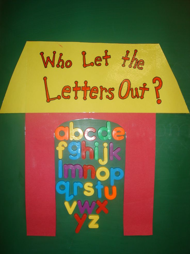 Have the kids take the let the letters out as we play the song .. Dr. Jean's who let the letters out..LOVE IT!