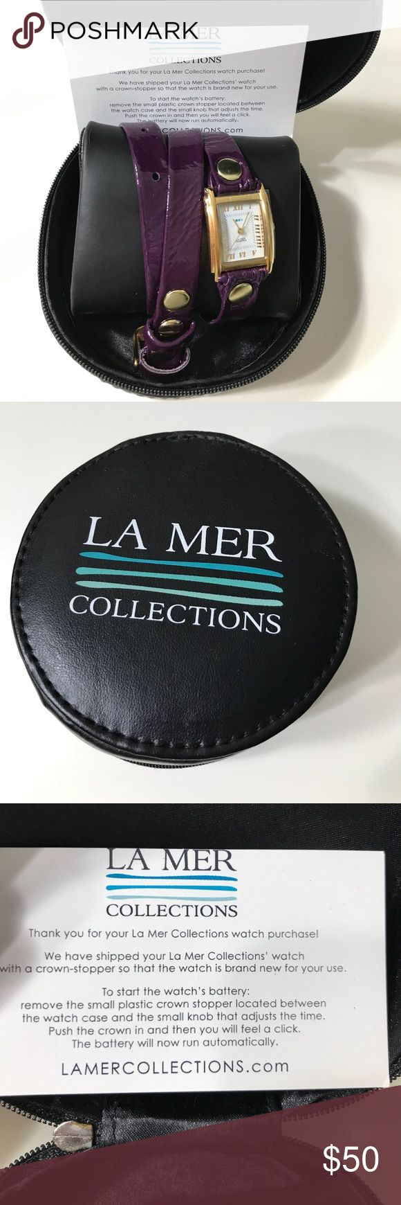 Brand New La Mer Wrap Watch This is a brand new (battery has never been started) La Mer Wrap Watch. The band is purple patent leather and it has gold hardware. I designed this watch personally on the website. I never used it. La Mer Accessories Watches