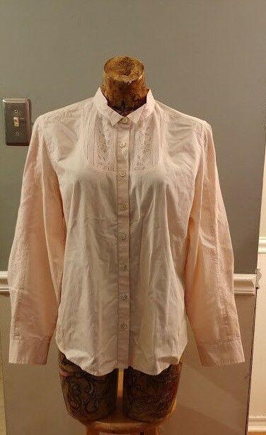 c88de0cd97 J jill Womens shirt top LARGE Button Down blouse long sleeve pink  JJill   Blouse
