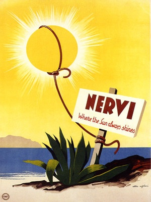 NERVI (Genoa, Liguria) Sun Always Shines Italy Tourism Travel Vintage Poster  Very funny! #essenzadiriviera  - www.varaldocosmetica.it (discover the olive oil cosmetics from the italian riviera)