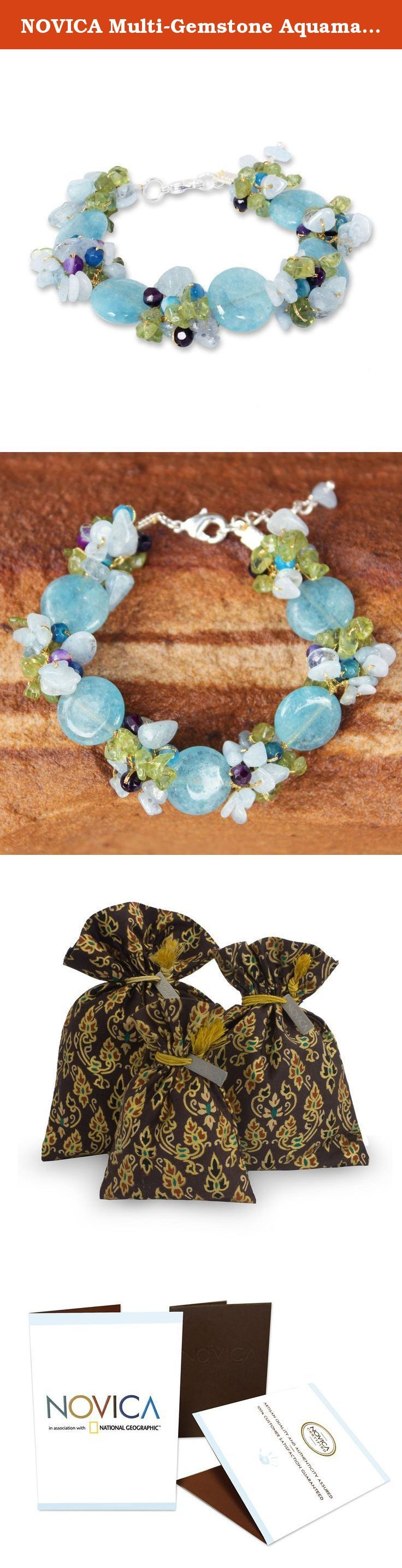 """NOVICA Multi-Gemstone Aquamarine Beaded Bracelet with Quartz, 7.75"""", 'Peony Romance'. NOVICA, in association with National Geographic, works together with talented artisan designers around the world to produce stunning, keepsake treasures. Our mantra is to spread global happiness, so rest assured - we'll do everything we possibly can to ensure you're a happy customer. About this item: Knotted by hand on silk strands, colorful gemstones envelop the wrist in beauty. Nareerat combines…"""