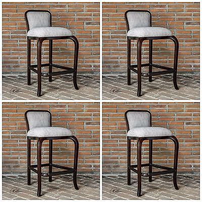 FOUR MAHOGANY WOOD LIGHT CLAY WEAVE FABRIC BAR PUB STOOL VINTAGE MODERN STYLE