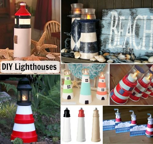 DIY Lighthouses: http://www.completely-coastal.com/2016/05/diy-lighthouses-how-to-make-lighthouse-cardboard-plastic-bottle-etc.html Make a lighthouse from cardboard, foam cone, plastic bottle, terracotta pots... and much more! It's amazing how many ways there are to construct a decorative lighthouse!