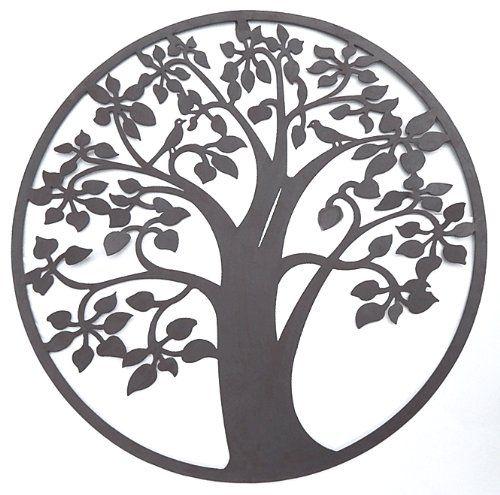 $39.99 Tree Of Life Metal Wall Sculptures Patio Garden Art With Birds 24  Inches 1302 Bombayjewel