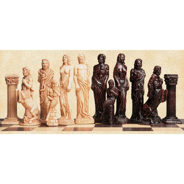 Gods of Mythology chess pieces by Studio Anne Carlton  http://www.pinterest.com/nanatang; http://www.wholesalechess.com/images/products/SA0020_1L.jpg