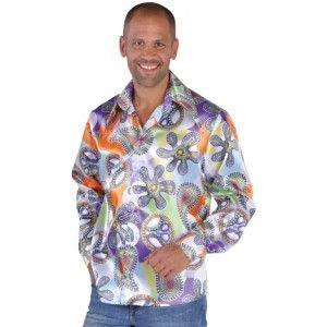 deguisement 70's chemise Cool chic homme, chemise adulte années 70 hippie en satin qualité deluxe création Magic by Freddy's