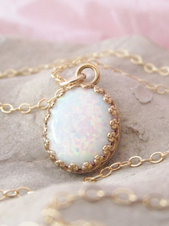 Gold Opal Pendant Necklace,Opal Jewelry,White Opal Necklace,Simple Opal Pendant,Gemstone Jewelry
