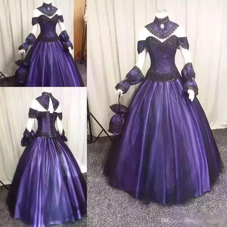 Discount Black Purple Gothic Wedding Dresses 2018 Custom Make Plus Size Vintage Steampunk Victorian Halloween Vampire Wedding Gowns With Choak Wedding Dresses Classic Wedding Dresses Gowns From Sweety_wedding, $164.48  Dhgate.Com #vintageweddingdresses