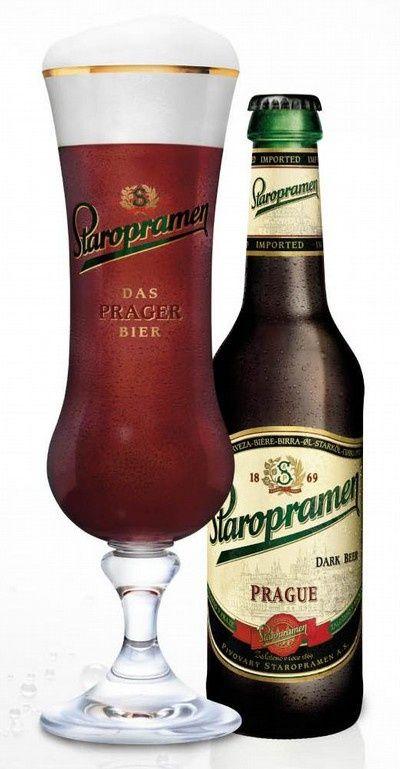 """Staropramen"" dark beer from the brewery of the same name, Prague, Czechia"