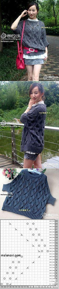 Оригинальный пуловер спицами с узором листики | Вяжем с Ланой Vi