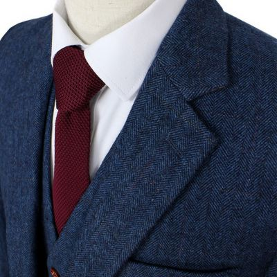 Blue Herringbone Tweed Suit