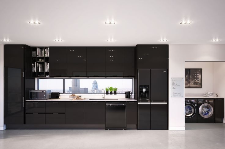 LG Black Home Appliances kitchen