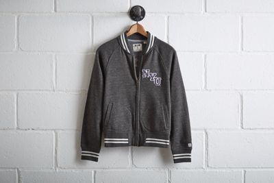 Tailgate NYU Violets Bomber Jacket by  American Eagle Outfitters | NYU's football legacy will forever be captured by the iconic figure of Ed Smith, the 1930s NYU football star and model for the Heisman Trophy. Shop the Tailgate NYU Violets Bomber Jacket and check out more at AE.com.
