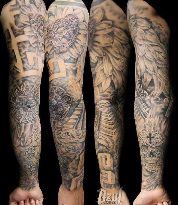 Stone Work on Skin- Full Sleeve | Dzul Ink Lounge Tattoos ...