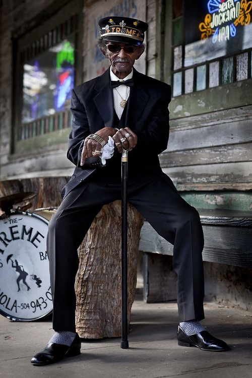 New Orleans Music/Jazz Legend UNCLE LIONEL  Cred: Lee Crum   || via NPR: Lionel Batiste, vocalist, bass drummer and assistant band leader of the Treme Brass Band died Sunday after a brief battle with cancer.  He was 81.