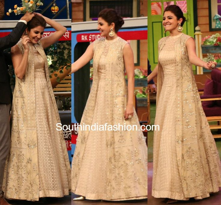 Anushka Sharma for ADHM Ae Dil Hai Mushkil promotions in Anita Dongre gown and long jacket on kapil sharma show