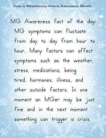 June is Myasthenia Gravis Awareness Month. Go to www.myasthenia.org to learn more and see how you can help.