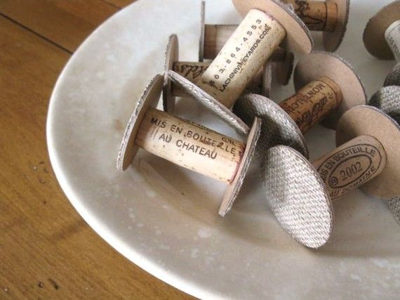 Wine Cork Spools!  Get organized and wrap up your scraps. Would make a cute one of a kind party favor with your own trim wrapped on them. You can custom yourself by stamping on them. They circles are cut from paper board.   SO EASY TO MAKE