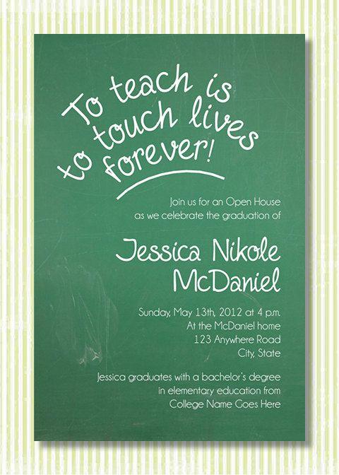 Best 25 open house invitation ideas on pinterest grad invites custom graduation open house invitation teacher chalkboard theme green chalkboard stopboris Images