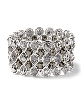 Womens Gray Wide Silvertone/Crystal Stretch Bracelet by White House from White House | Black Market on Catalog Spree, my personal digital mall.