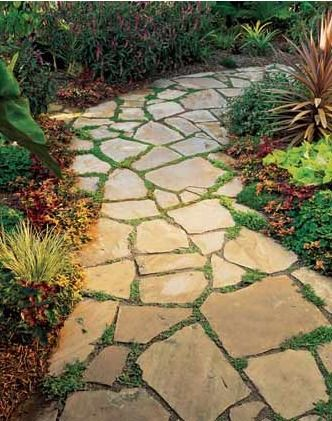 DIY Curves    Even a novice can install a mortarless flagstone path like this one. Its wide and gentle curves form generous planting pockets filled with Mazus reptans, a flowering ground cover native to the Himalayas.