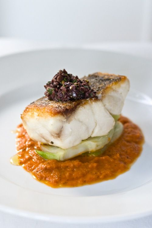pan roasted striped bass, roasted tomato puree, grilled fennel and olive/anchovy tapanade