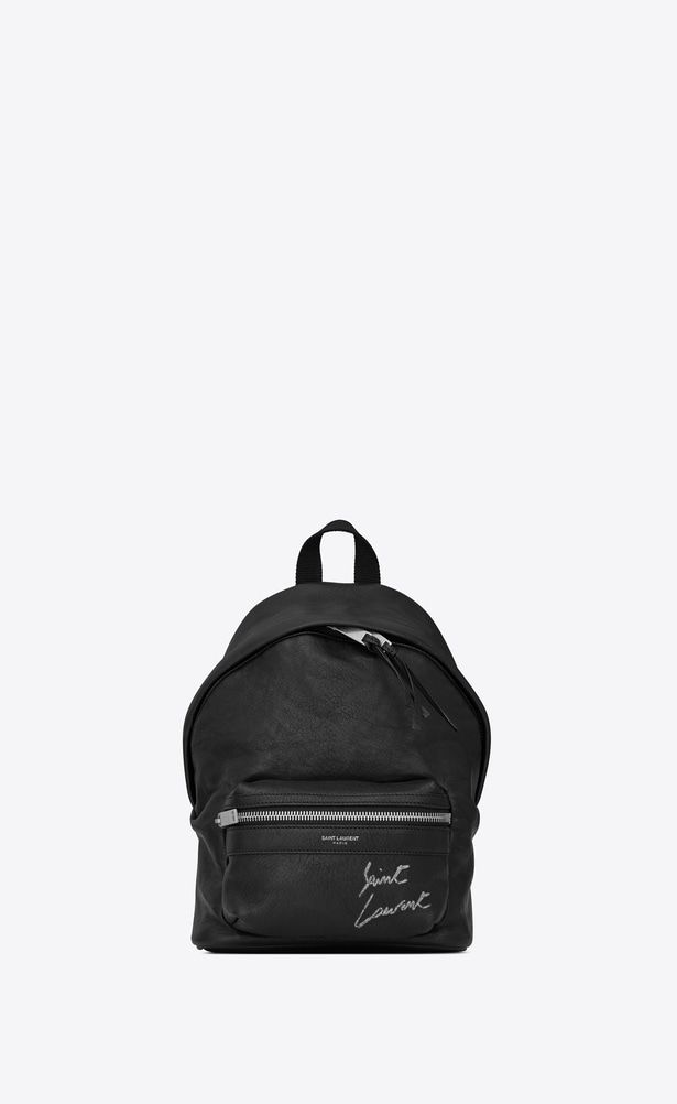93175004646 SAINT LAURENT City Backpack Woman Mini TOY CITY embroidered backpack in  black leather a_V4