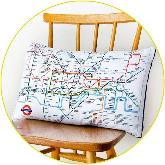 Upcycled London Underground Tube Map Cushion by HuntedandStuffed, £25.00