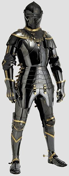 The jousting armor of Dr. Tobias Capwell, scholar and warrior. A unique armour in the English style, circa 1440 - 1460, made of hardened and tempered medium carbon steel with rich gilt ornamentation and gilt maille.