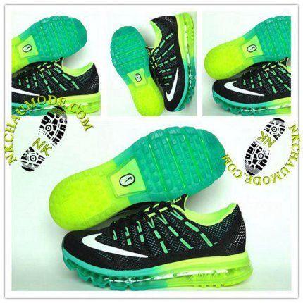 Tendance | Nike Chaussure Sport Air Max 2016 Homme Brillant Noir/Vert/Jaune