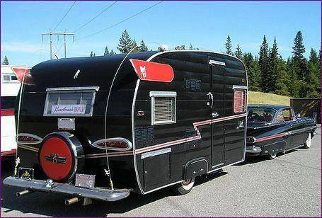 Black and red Shasta with matching car. Classy!..Re-pin brought to you by #OregonInsuranceagents at #houseofinsurance in #EugeneOregon