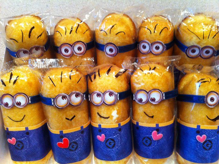 Make Twinkie minions in the package. Print out overalls and googles to glue on. Draw mouth and hair with marker.
