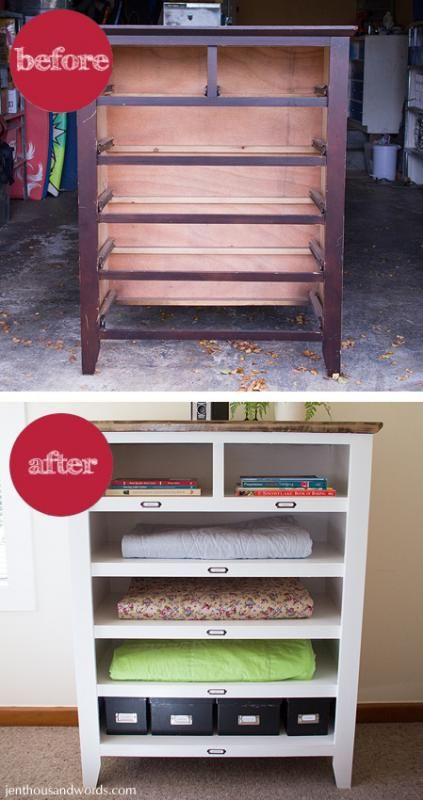 Salvaged, broken dresser becomes shelves with a little TLC.