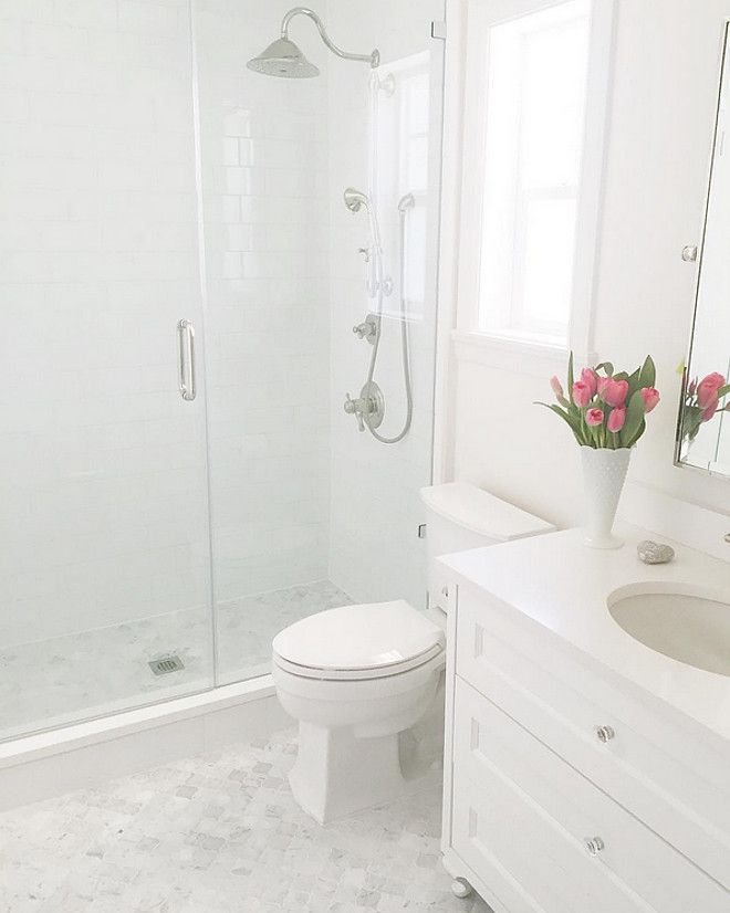 Beautiful Homes of Instagram @jshomedesign, marble bathroom, kids bathroom, delta faucets, arabesque tiles, white subway tiles