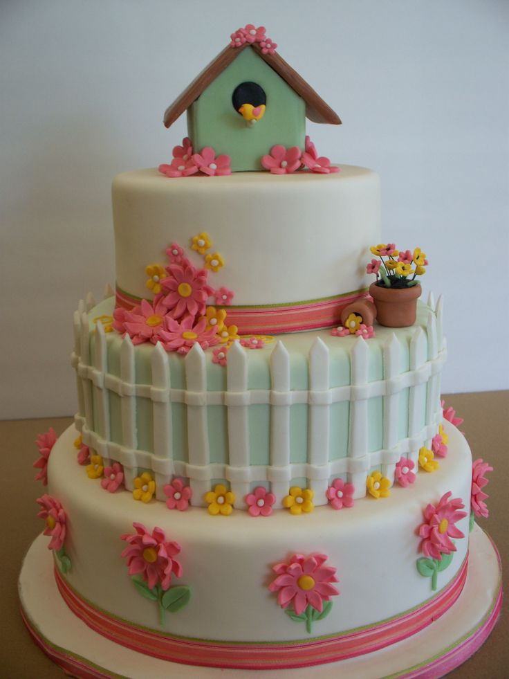bird cake | Garden Theme Cake — Birthday Cakes