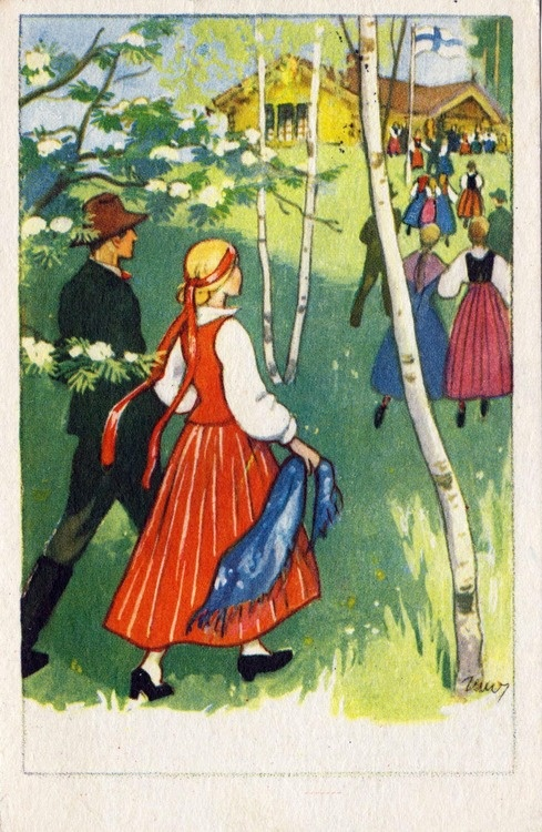 Martta Wendelin Juhannus (Midsummer) - Finnish Summer Solstice Illustration :)