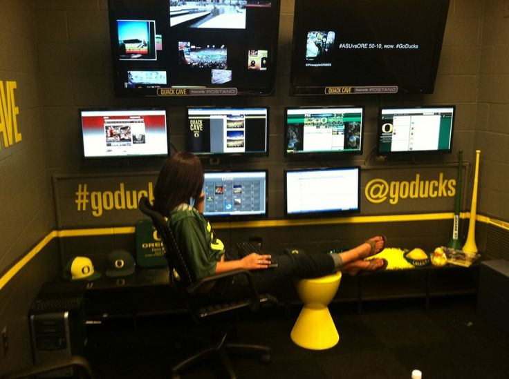 Social Media Command Center of University of Oregon Ducks AKA QuackCave