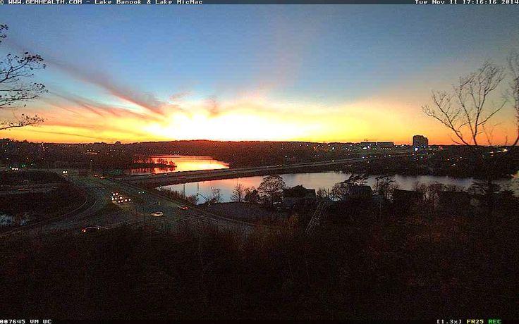 Sunset over #LakeBanook and #LakeMicMac in #Dartmouth, #Nova Scotia - November 11, 2014  http://www.novascotiawebcams.com/en/webcams/lake-banook-lake-micmac/
