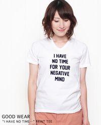 """GOOD WEAR グッドウェア  """"I HAVE NO TIME"""" Vネック 半袖 Tシャツ 2色"""