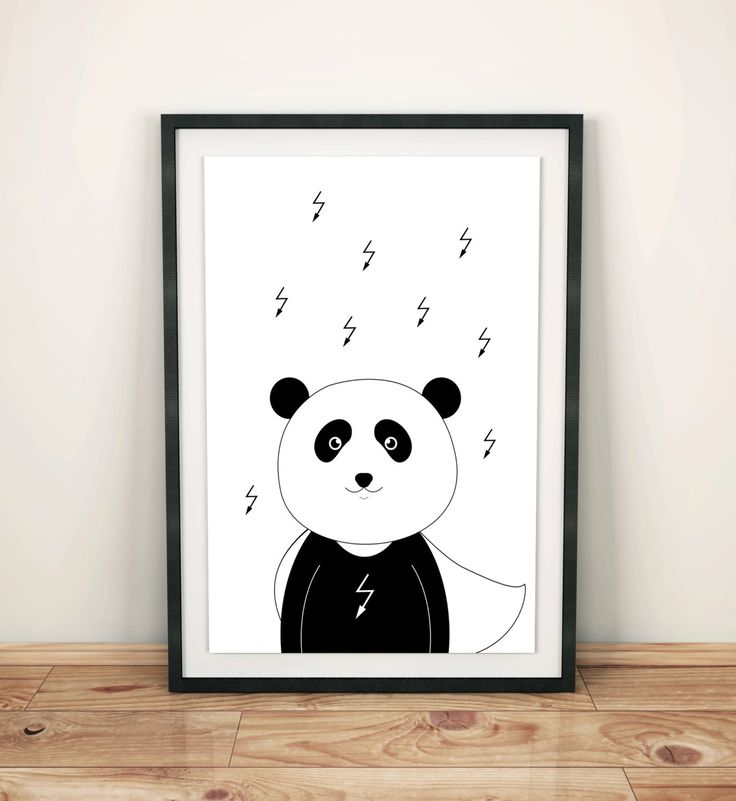 Nursery prints poster with panda superhero, wall art decor, boys room, black and white, simple design, graf poster by GrafPoster on Etsy