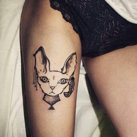 Sphynx tattoo, lines & dots