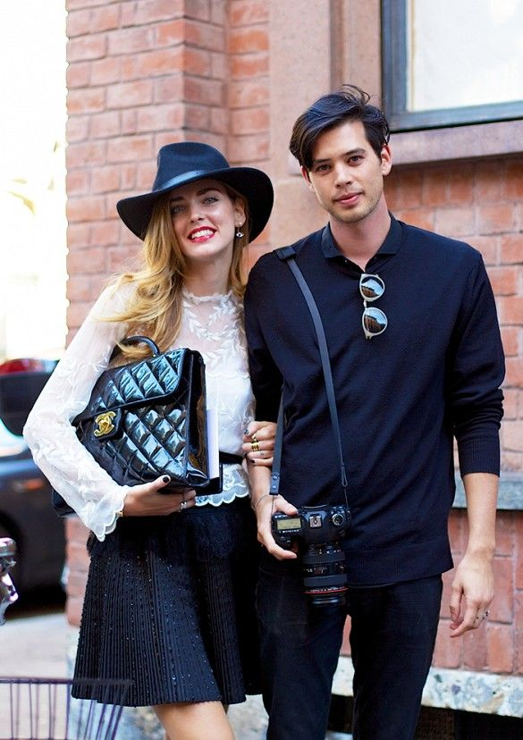 Chiara Ferragni and Andrew Arthur // The fashion blogger and her photographer beau balance each other's style perfectly.